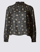 Marks and Spencer PETITE Long Sleeve Ditsy Blouse