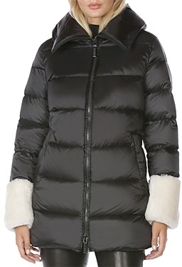 Dawn Levy Emmie Hooded Shearling Trim Puffer Coat