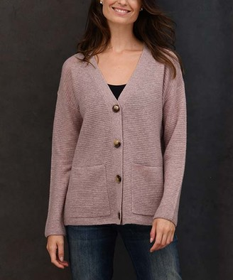 Colour Works by In Cashmere Women's Cardigans Heather - Heather Mocha Ribbed Pocket Cashmere Button-Up Cardigan - Women