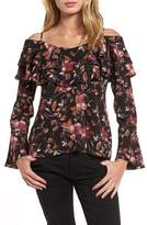 BP Ruffle Print Off the Shoulder Blouse