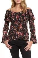 BP Women's Ruffle Print Off The Shoulder Blouse