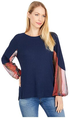 Rock and Roll Cowgirl Waffle Knit Top w/ Contrast Mesh Sleeves 48T6288 (Navy) Women's Clothing