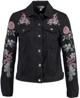 Dorothy Perkins EMBROIDERY Denim jacket washed black