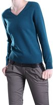 Pink Wind Women Solid V Neck Long Sleeve Cashmere Sweater Jumper Tops Turquoise M