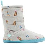 Joules Dog Print Slipper Socks, Grey Marl