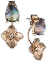 lonna & lilly Gold-Tone Abalone & Flower Front & Back Earrings