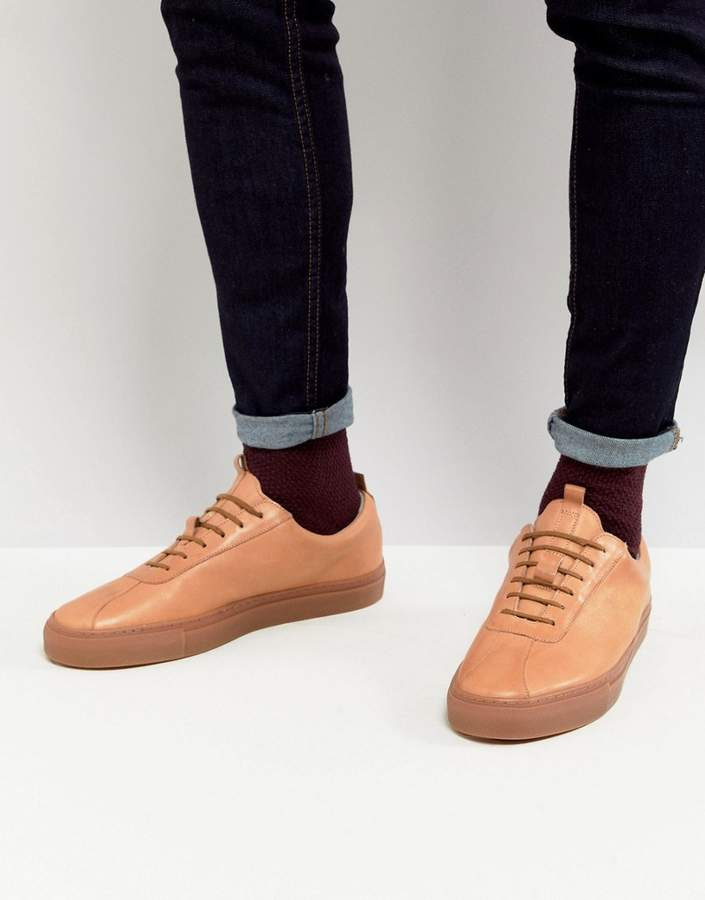 Grenson Leather Sneakers With Gum Sole
