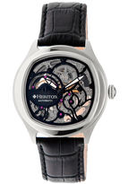 Heritor Automatic Odysseus Mens Skeleton-Dial Leather-Silver Tone/Black Watch
