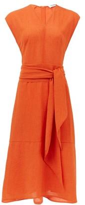 Cefinn Waist-tie Voile Midi Dress - Orange