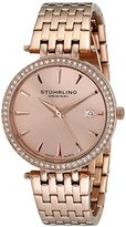 Stuhrling Original Women's 579.04 Soiree Swarovski Crystal-Accented Rose Gold-Tone Watch