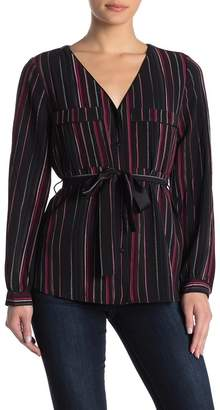 Laundry by Shelli Segal Striped Tie Waist Blouse