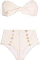 Lisa Marie Fernandez Poppy Stretch-denim Bandeau Bikini - Cream