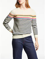 Boden Cashmere Striped Crew Neck Jumper, Ivory/Navy Stripe