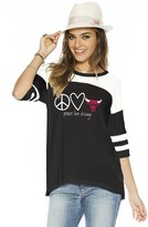 Peace Love World Peace Love Chicago Bulls Black/White Short Sleeve Tomboy Top
