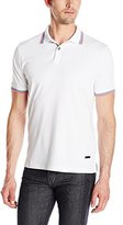 Stone Rose Men's Jersey Knit Tipped Collar Polo Shirt