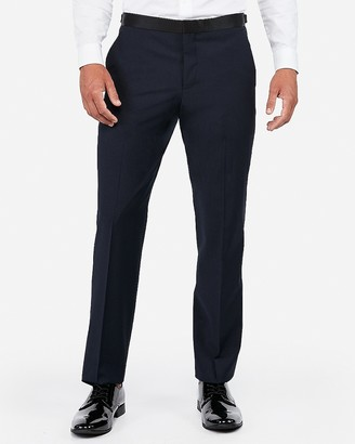 Express Classic Navy Wool-Blend Performance Tuxedo Pant