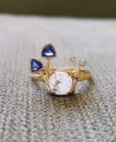 Etsy Blue White Sapphire Diamond Engagement Ring Mushroom Nature Bohemian Whimsical Antique Art Nouveau A