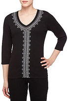 Allison Daley Petites Embroidered V-Neck 3/4 Sleeve Solid Knit Top