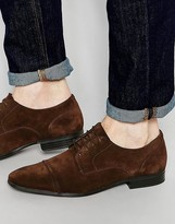 Asos Derby Shoes in Brown Suede With Toe Cap