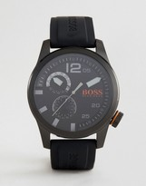 Boss Orange By Hugo Boss Paris Silicone Watch In Black 1513147