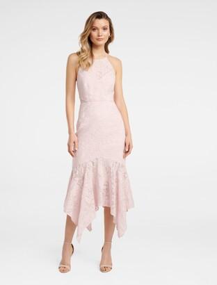 Forever New Shakira Hanky Hem Lace Midi Dress - Blush - 6
