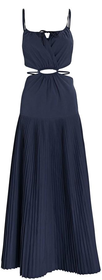 Jonathan Simkhai Rem Pleated Cut-Out Poplin Dress