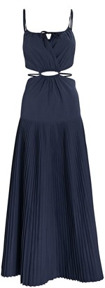 Jonathan Simkhai Rem Pleated Cut-Out Poplin Dress