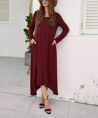 Sucrefas Women's Casual Dresses Redwine - Red Wine Sidetail Maxi Dress - Women & Plus