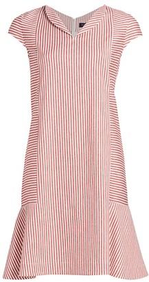 Piazza Sempione Striped Cap-Sleeve Flounce Dress