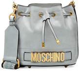 Moschino Logo Leather Drawstring Bag