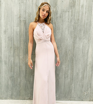 TFNC Petite bridesmaid wrap lace maxi dress in pink