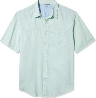 Izod Men's Big & Tall Big Saltwater Dockside Chambray Short Sleeve Button Down Solid Shirt