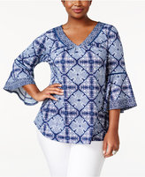 NY Collection Plus Size Bell-Sleeve Printed Top