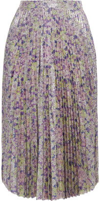 Stella McCartney Isabelle Pleated Floral-print Lame Skirt