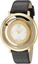 Versace Women's VQV010015 Venus Gold Ion-Plated Stainless Steel Watch With Black Leather Band