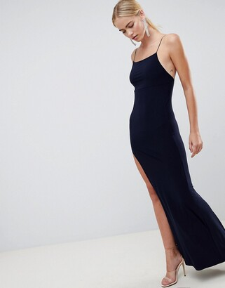 Asos Design DESIGN Slinky Maxi Dress-Navy