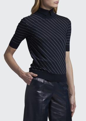 Giorgio Armani Diagonal Striped Mock-Neck Wool Top