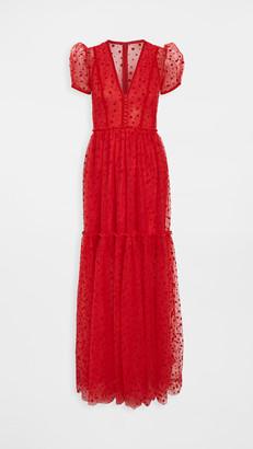 Costarellos Flocked Dot Plunging Neckline Tulle Dress