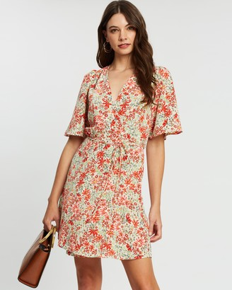 Mng Print Wrap Dress