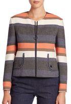 Akris Punto Striped Peplum Back Jacket