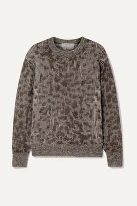 Sea Jacquard-knit Sweater - Brown