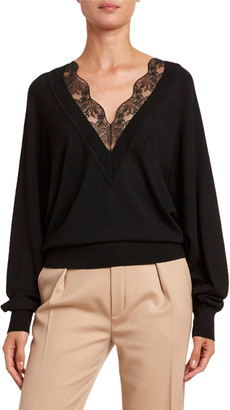 Chloé Lace V-Neck Wool-Silk Sweater