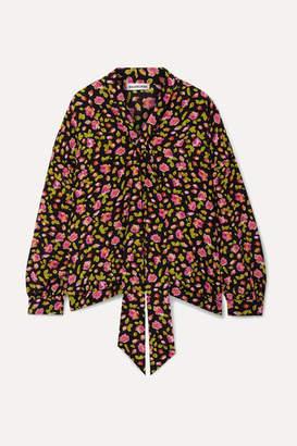 Balenciaga Pussy-bow Floral-print Silk Crepe De Chine Blouse - Black