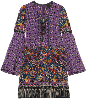 Anna Sui Printed Silk Crepe De Chine Mini Dress