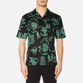 Ami Men's Flowers Print Short Sleeve Shirt Black/Green