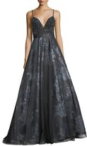 Jovani Beaded Slip Top Metallic Floral Evening Ball Gown