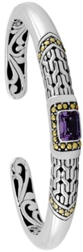 Devata Gemstone Bali Heritage Signature Cuff Bracelet in Sterling Silver and 18k Yellow Gold Accents (Available in Amethyst, Garnet and Blue Topaz)