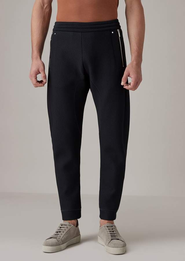 770648611e Jogging Pants In Double-Sided Jacquard With Mesh-Effect Design