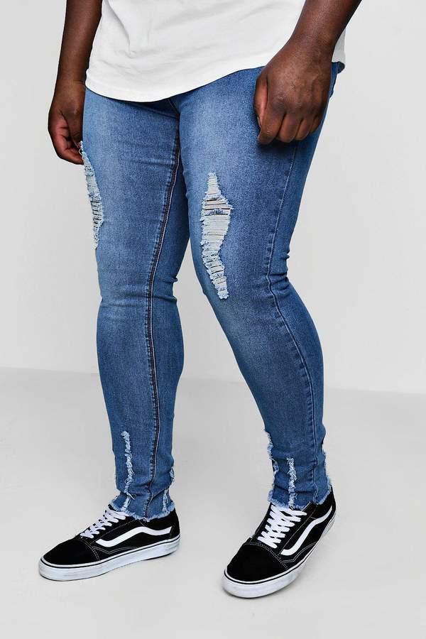boohoo Big And Tall Skinny Jeans With Raw Hem