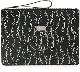 Salvatore Ferragamo All Over Logo Clutch Bag